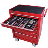 George Tools Werkzeugwagen gefüllt 7 Schubladen 253-teilig rot
