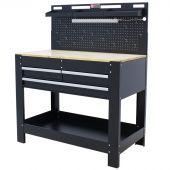 George Tools Werkbank mit Wand & LED 3 Schubladen Eiche 115 cm schwarz