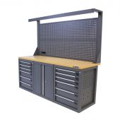 Kraftmeister Werkbank mit Wand 12 Schubladen 2 Türen MDF 200 cm grau