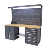 Kraftmeister Werkbank mit Wand 6 Schubladen 2 Türen MDF 200 cm - grau