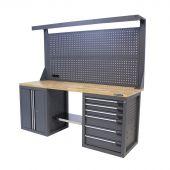 Kraftmeister Werkbank mit Wand 6 Schubladen 2 Türen Eiche 200 cm grau